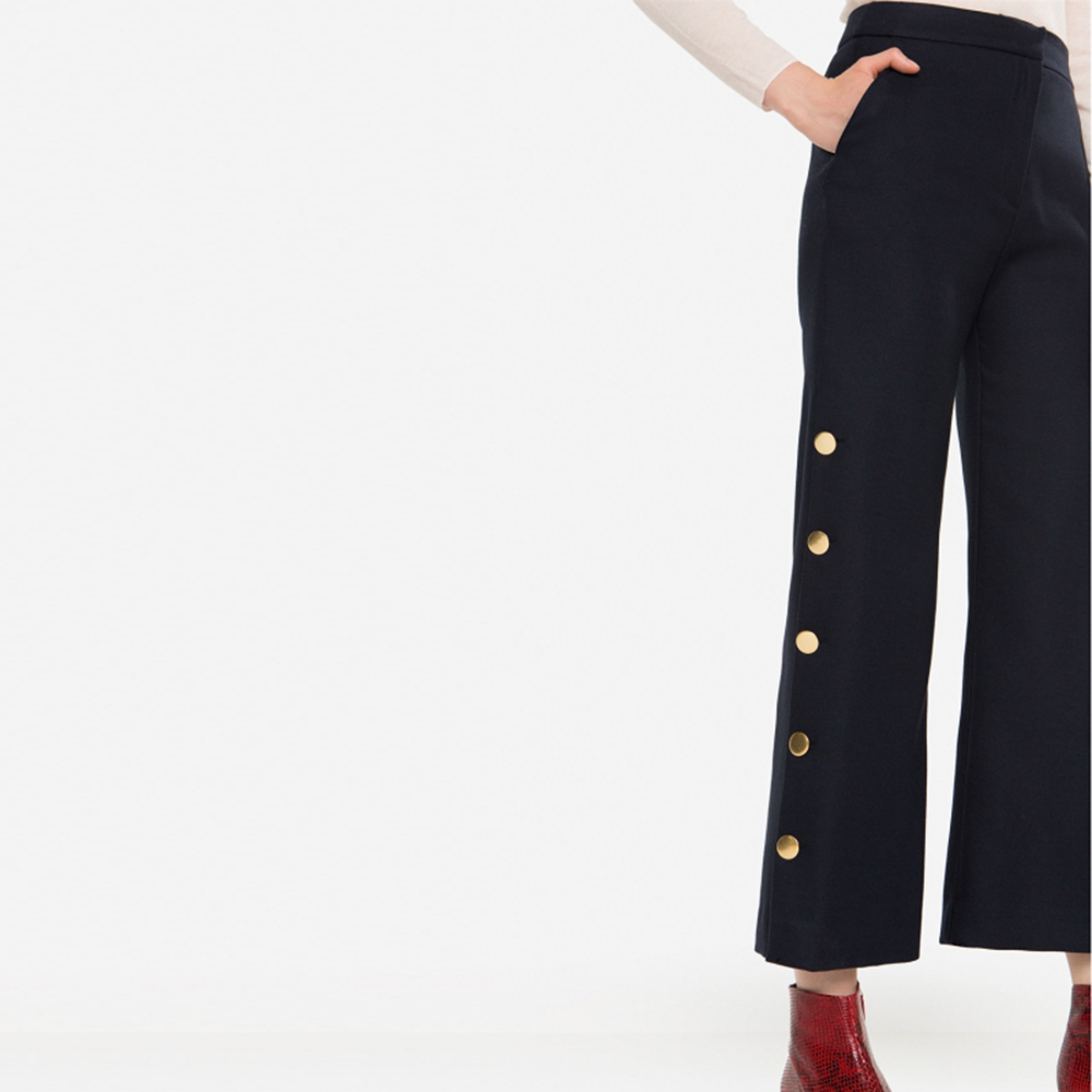 HDY Haoduoyi Women Flared Bell Bottom Pants Fashion Crop Pants Buttons Decor Office Ladies Pants Workwear Long Trousers Navy