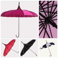 Hot sale Pagoda Straight Umbrella UV rcsistant Lace Wedding Umbrella 6 Color Korea Style Sun Rain Parasol