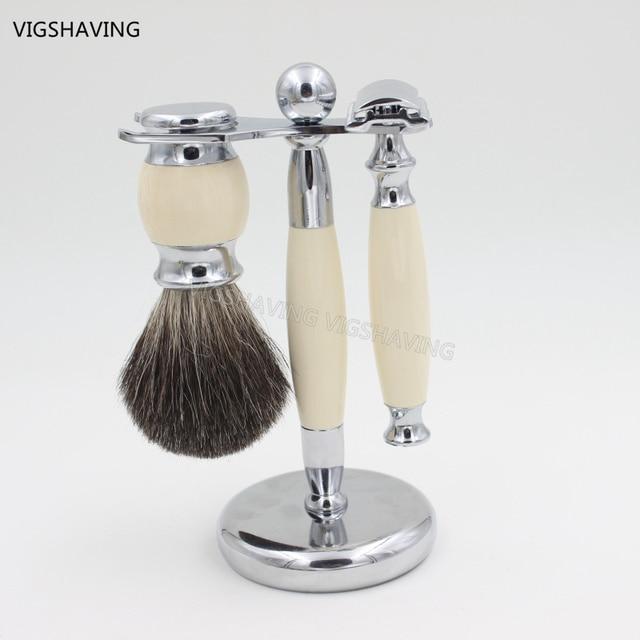 Faux Ivry Handle Black Pure Badger Hair and Safety razor Luxury Badger Men Shaving Set