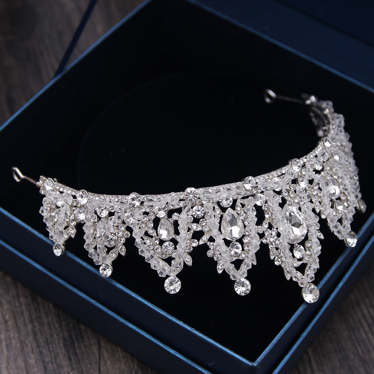 Baroque Luxury Handmade Rhinestone Bridal Crown Tiaras Silver Crystal Diadem Tiaras for Bride Headbands Wedding Hair Accessories 12