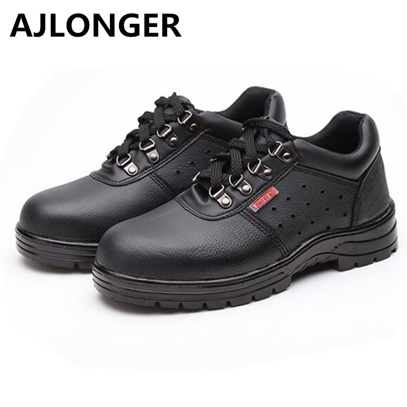 AJLONGER Solid breathable anti-odor safety shoes male work shoes steel toe cap covering wear-resistant oil cowhide super shock absorbing steel toe cap safety shoes tear resistant breathable work shoes