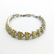 Fashion Jewelry Women Lady Bracelet 10KT White Gold Filled Bracelets Zircon Gold yellow Big Promotion