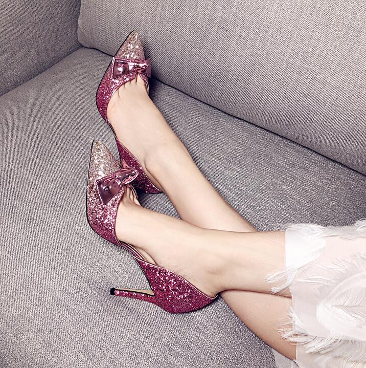 Bling Bling Glitter Pumps Women Shoes Pointed Toe Bowtie Knot Sexy High Heel Shoes Red Black Gradient Cut-out Weeding Shoes