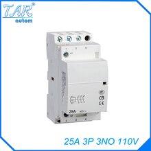 цена на 110V 3NO 25A 3P modular household small AC contactor hotel building Din rail Household ac contactor