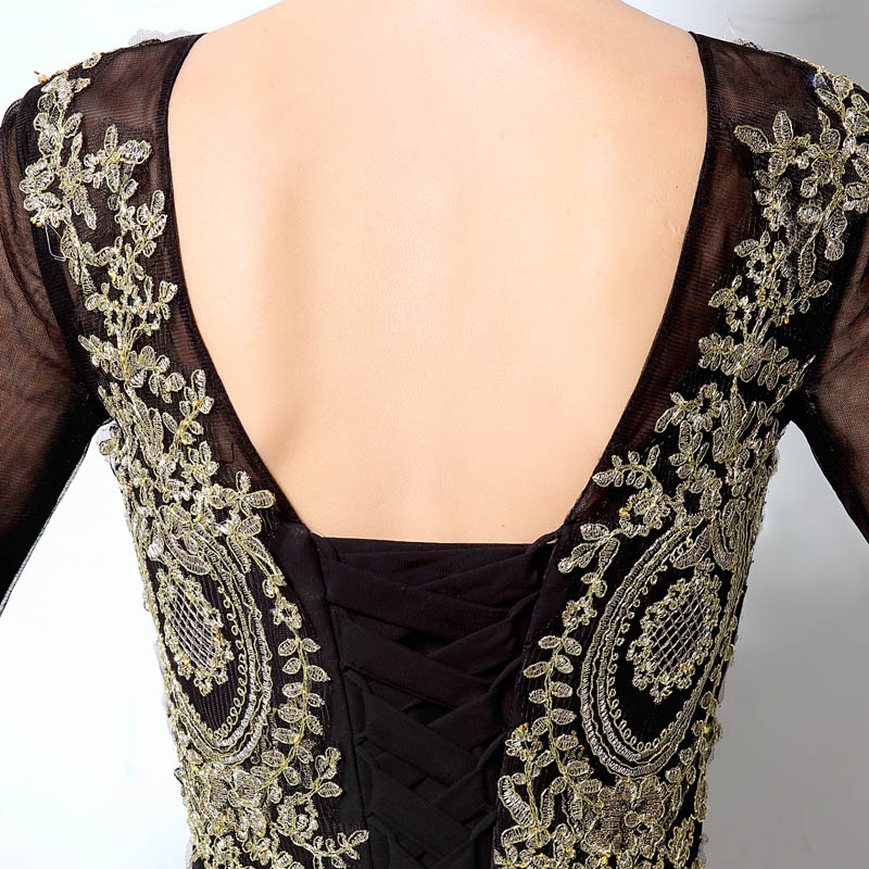 Elegant Long Sleeve Mermaid Long Evening Dresses Lace Appliques Black - Gaun acara khas - Foto 3