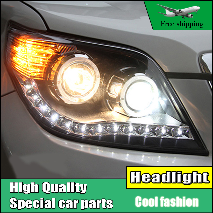 Car Styling Head Lamp Case For Toyota Prado Headlights 2009-2012 LED O Angel Eyes Headlight DRL Bi Xenon Lens HID Low Beam hireno headlamp for 2003 2009 toyota land cruiser prado headlight assembly led drl angel lens double beam hid xenon 2pcs