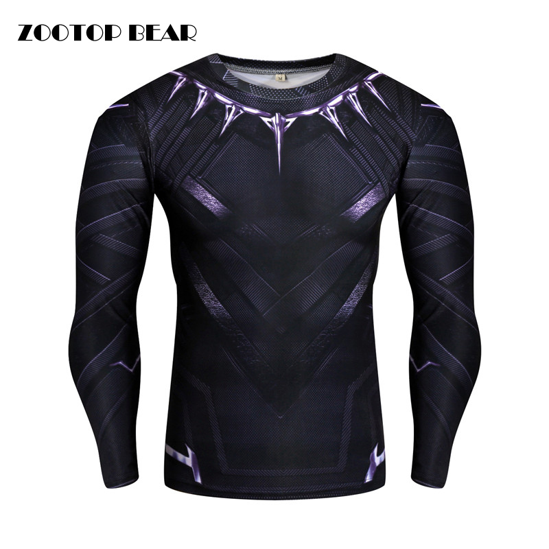 Black Panther/Captain America/Iron Man/Winter Soldier T shirt Compression Men T-shirt Crossfit Camiseta Cosplay 2017 ZOOTOP BEAR