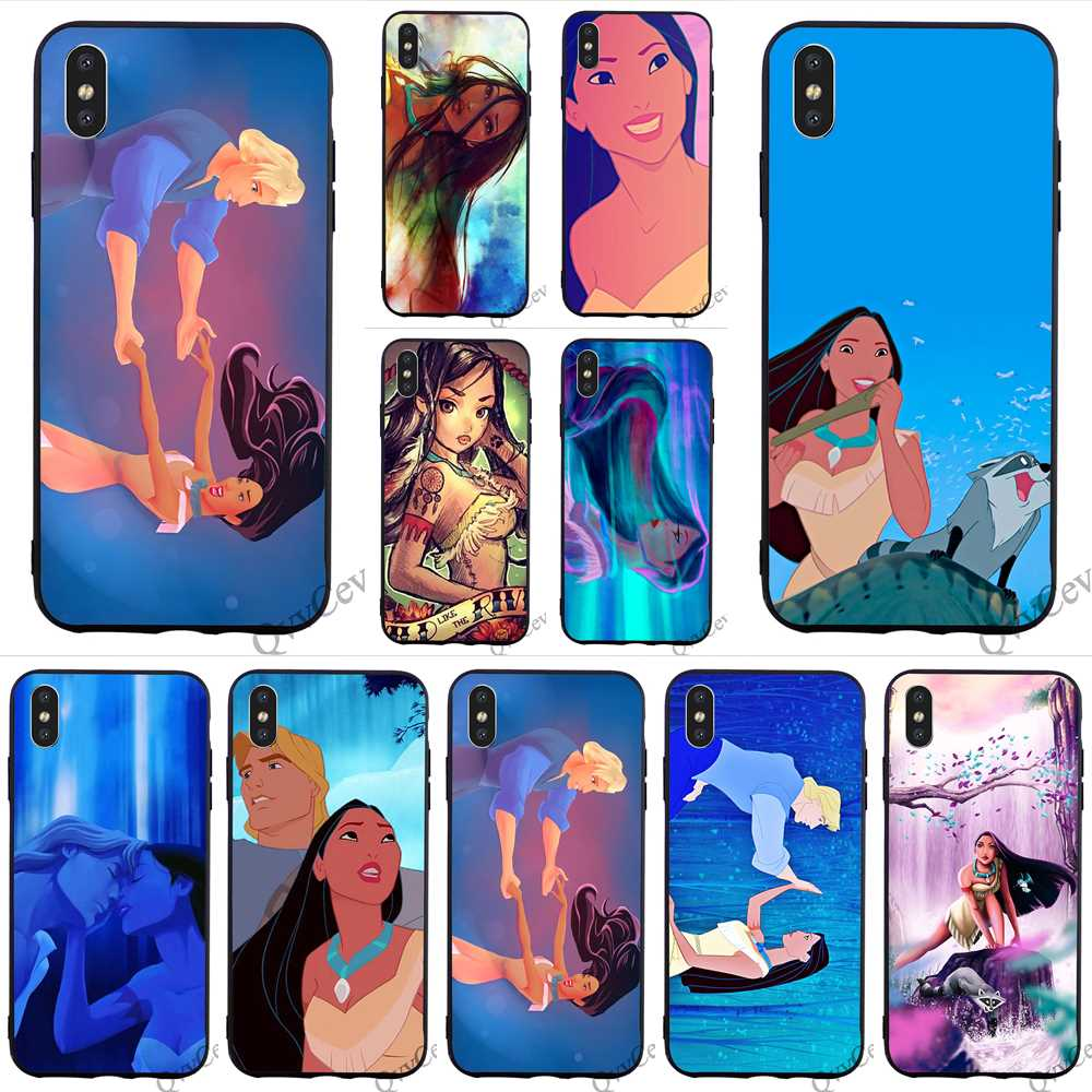 Hybrid Pocahontas Phone Cover for iPhone 6 Case 7 XR X 8 Plus 5 6S 5S SE Xs Max Cases Back