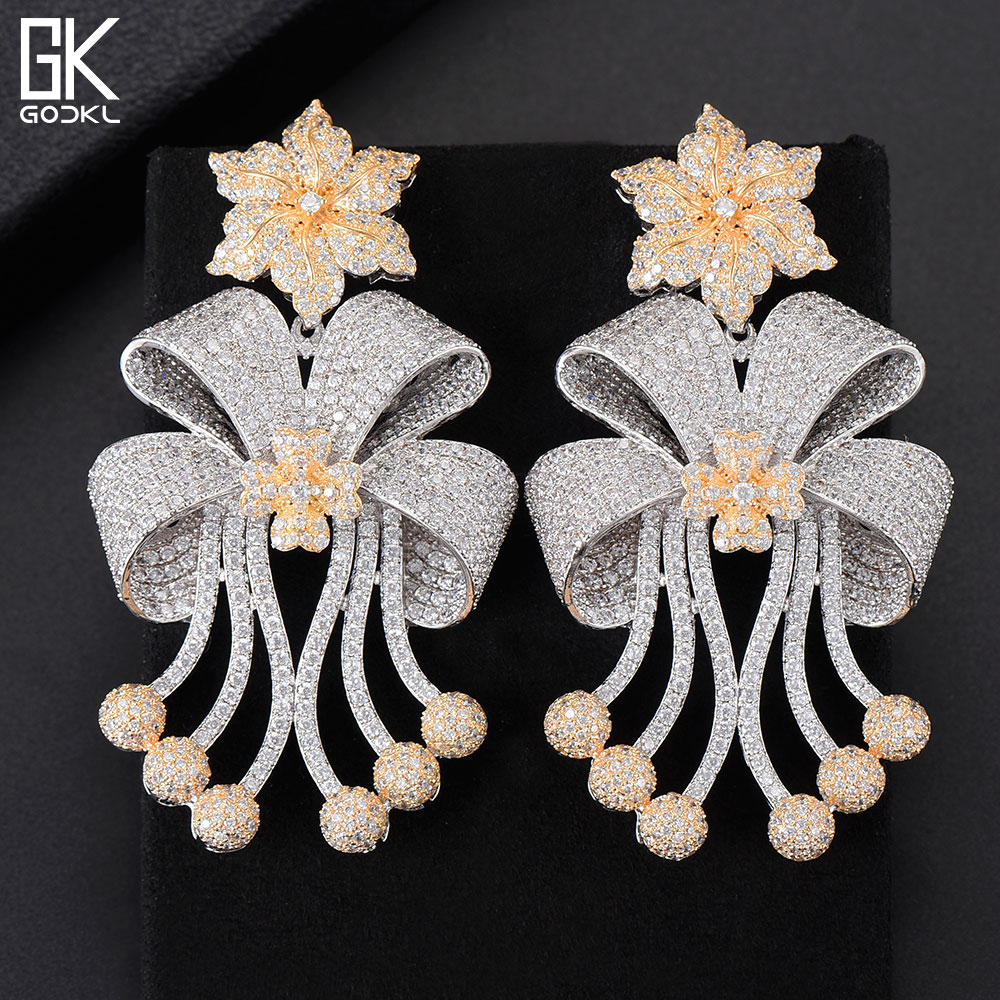 GODKI 72mm Trendy Luxury Bowknot Tassels Nigerian Long Dangle Earrings For Women Wedding Zirconia CZ Dubai