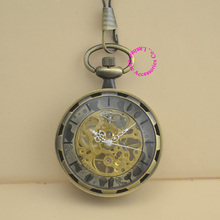 new fashion mechanical pocket watch vintage retro antique bronze men fob watches grandfather gift steampunk hour chain good