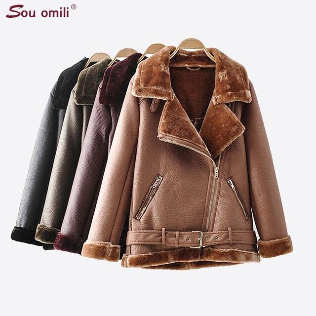 Chaqueta de cuero de piel gruesa abrigo de Invierno Caliente Moto da  vuelta-abajo Outwear 0782c732a18f