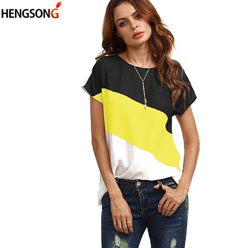 Spring/Summer Womens Fashion Chiffon T-Shirts Round Neck T Shirt Stitching Short Sleeved Ladies Casual Loose Tops