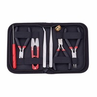 Random Color DIY Jewelry Tool Kits, Round Nose Pliers, Side Cutting Pliers, Wire Cutter, Scissor, Beading Tweezers and Bead