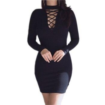 Autumn Dress Knitting 2018 Women Dresses Zipper O-neck Sexy Knitted Dress Long Sleeve Bodycon Sheath Pack Hip Dress GV090 4