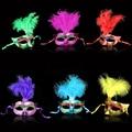 Multi Cor Pena PVC Máscara Princesa Sexy Hallowmas Veneziano Bauta Máscara Meia Face Máscara Do Partido de Dança Cosplay Mascarada Decoração