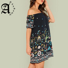 Ameision Navy Plus Size Botanical Print Off Shoulder Cotton Dress Women 2019 Summer Beach Vacation Bohemian Midi Dresses
