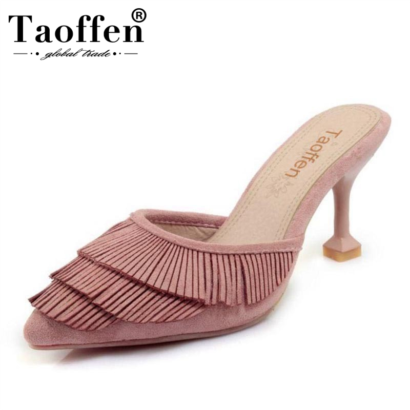 TAOFFEN Size 32-43 Fashion Women Tassel High Heel Sandals Pointed Toe Solid Color Thin Heel Slippers Summer Vacation Shoes