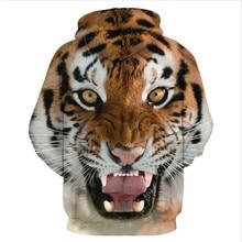 Animal Hood Europe Hot Retro Liger 3D Digital Printing Leisure Wild Hooded Sweatshirts Hedging Novelty Sweatshirts