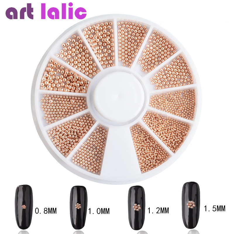 Rose Gold Mixed Size Nail Art Caviar Metal Bead Mini Steel Ball 3D Tips UV Gel Polish Manicure Jewelry DIY Decoration Tool Wheel 10pcs gold 3d rudder metal flower pearl music note mixed rhinestones cross nail art decoration jewelry nails supplies y180 187