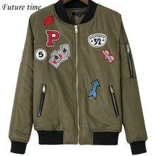 new women coat female bomber embroidery jacket patchwork letters zipper jacket spring high quality jacket women outwear YF239