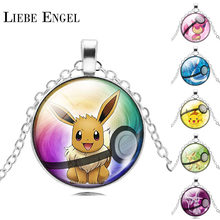 LIEBE ENGEL NEW Pokemon Eevee Necklace Pokeball Glass Cabochon Statement Chain Pendant Necklace Women Fine Jewelry Gift 2017(China)