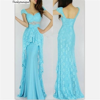 2017 Real Picture Lace Blue/Orange/Red beads Homecoming Party Prom Gowns Ball Formal Evening dresses vestidos de festa H0531