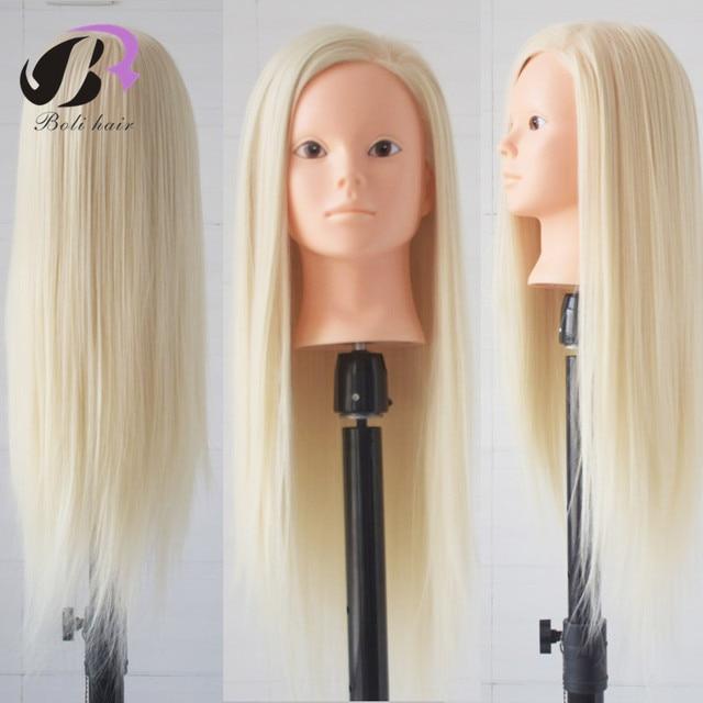 Saç Kuaför Manken Kafa 100% Yüksek Sıcaklık Fiber Kadın Manken Kafa Makyaj Uygulaması Saç Manken Kafası