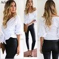 Aelorxin Atractivo Sin Tirantes Con Cuello En V Correas de la Cruz Blusa Mujeres Moda 2016 Off Shoulder Sólido de manga larga Camisas Blusas de Algodón