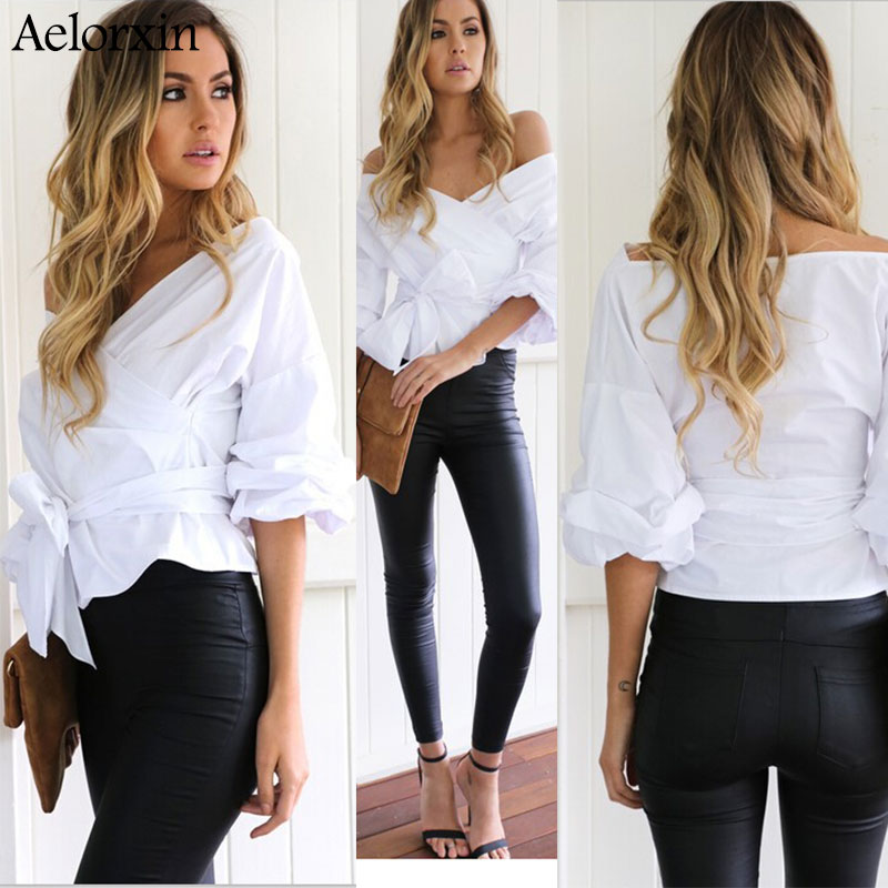 Aelorxin Sexy Strapless V-neck Cross Straps Blouse Shirt Women Fashion 2016 Off Shoulder Long-sleeved Solid Shirts Cotton Blusas