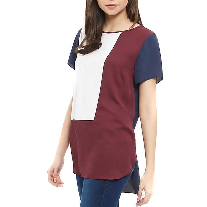 Женская свободная длинная шифоновая блуза Повседневная Лоскутная летняя геометрические блузки рубашка плюс размер 6XL IK88