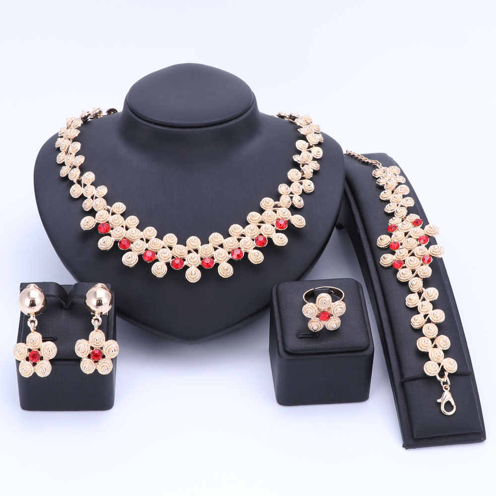 Wedding Women Fashion Crystal Jewelry Sets Bridal Party Accessories Necklace Earring Ring Bracelet African Beads Jewerly Sets