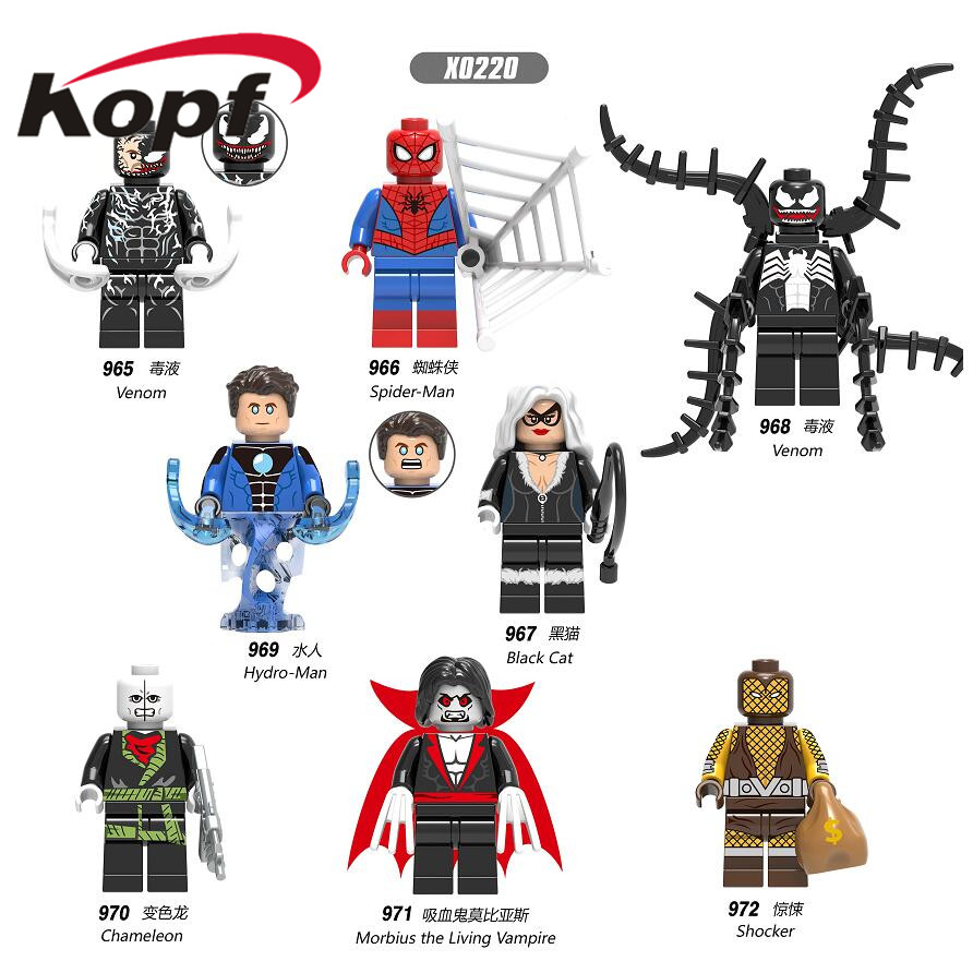 Building Blocks Venom Super Heroes Action Deadpool Avengers Spiderman Model Action Figures Bricks For Children Gift Toys X0220
