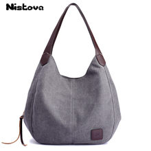 Women S New Canvas Bag Large Capacity Multi Compartment Handbag Fashion Simple Shoulder Casual Ping