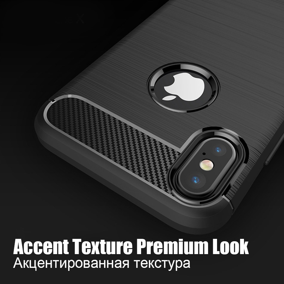 TOMKAS Phone Case Carbon Fiber Cover For iPhone XS Plus X 2018 5.8 6.1 6.5 Inch Soft TPU Silicon Case Protective Back Cover 2018 (4)