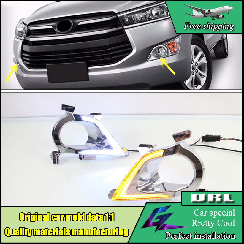 Car Styling LED DRL For Toyota Innova 2016 2017 White LED DRL Fog Lamp Daytime Running Light With Yellow Turn Signal Function car styling tail lights for toyota highlander 2015 led tail lamp rear trunk lamp cover drl signal brake reverse