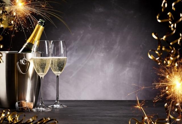 laeacco happy new year backgrounds glasses ribbon firework celebration pattern photography backdrop photocall photo studio