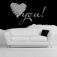 Heart You Romantic Heart Embellishment Love Quotes Wall Sticker Home Art Decals