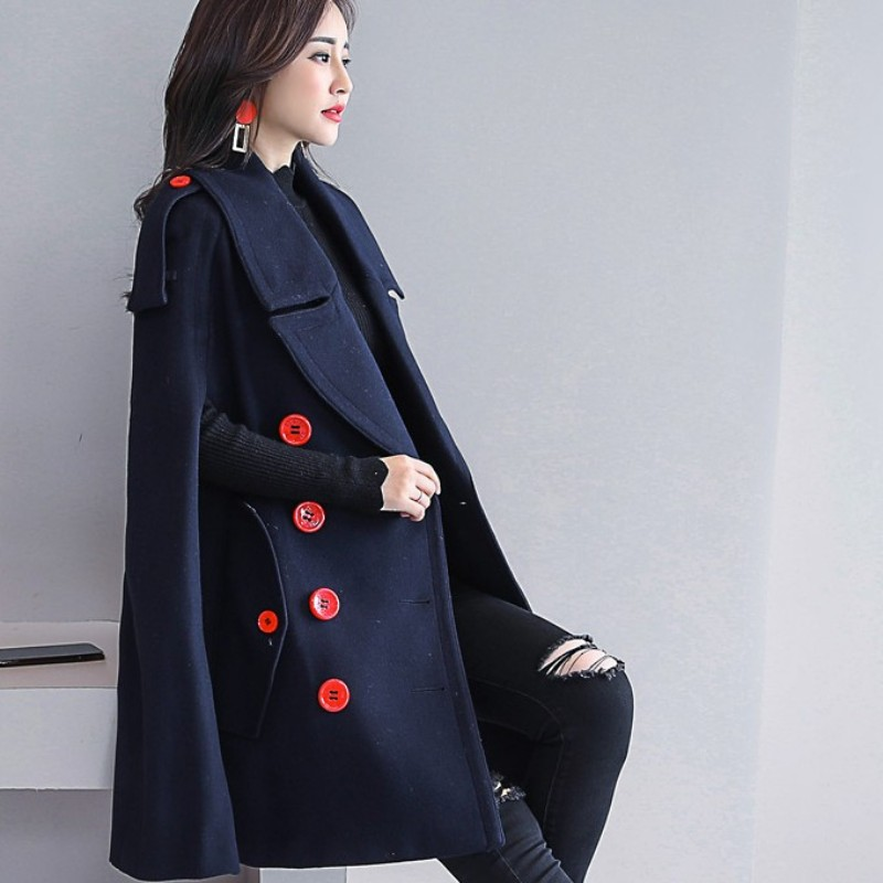 Manches Chaud Survêtement Angleterre D'hiver Femmes Manteaux Chauve De Breasted Style Cape souris Camel Mélanges Laine vent Coupe navy Double Manteau Pqqfwpr0n6