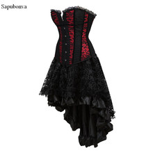 238e8ac012 Sapubonva lace trim flower corset dresses victorian black and red overbust  corsets bustiers skirts set costume