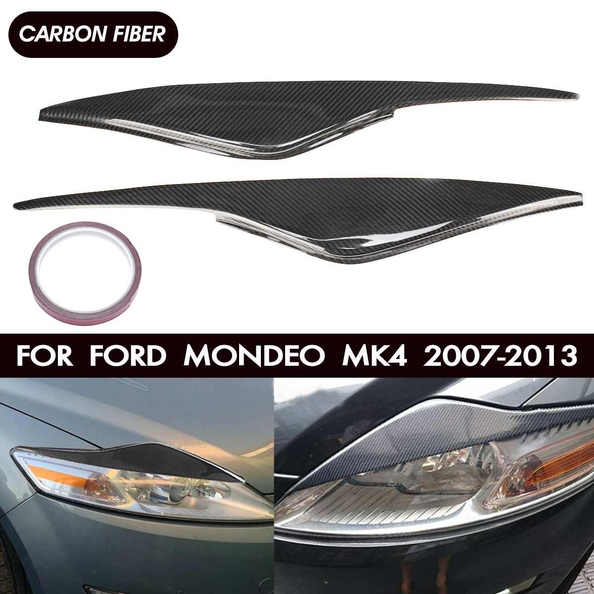 Пара автомобильных фар из углеродного волокна/стекловолокна, Накладка для бровей, накладка на голову, наклейка для век для Ford/Mondeo MK4 2007 2013