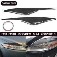Pair Car Carbon Fiber/Fiberglass Headlight Eyebrow Cover Trim Head Lamp Eyelid Sticker For Ford/Mondeo MK4 2007 2013