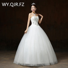 LYGH56#Plus size Custom Vogue of new of 2017 boob tube top lace up the bride gown show thin Studio wedding dress wholesale cheap