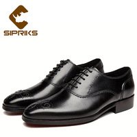 Sipriks Mens Black Oxfords With Carved Gentleman Classic Genuine Leather Dress Shoes Imported Italian Leather Shoes