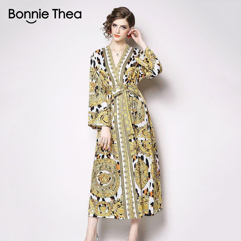 Bonnie Thea yellow Leopard print spring women dress female Vintage elegant long dress vestidos party plus size dress clothes