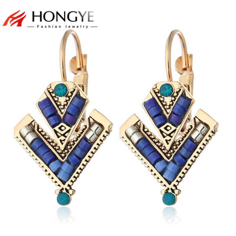 HONGYE 3 Colors Brincos Pendientes Blue Red Black Beads Geometric Double  Triangle Ethnic Drop Earrings 2018 ba055fb107c0