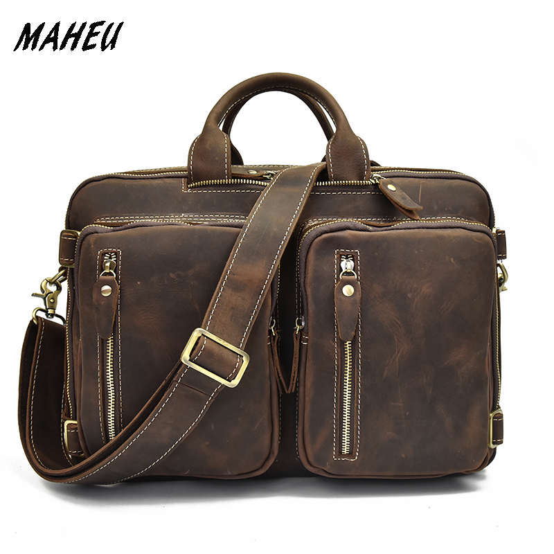 MAHEU Genuine Leather Briefcase for Men Multifunctional Cowhide Travel Bags 3 In 1 Office Man Bag