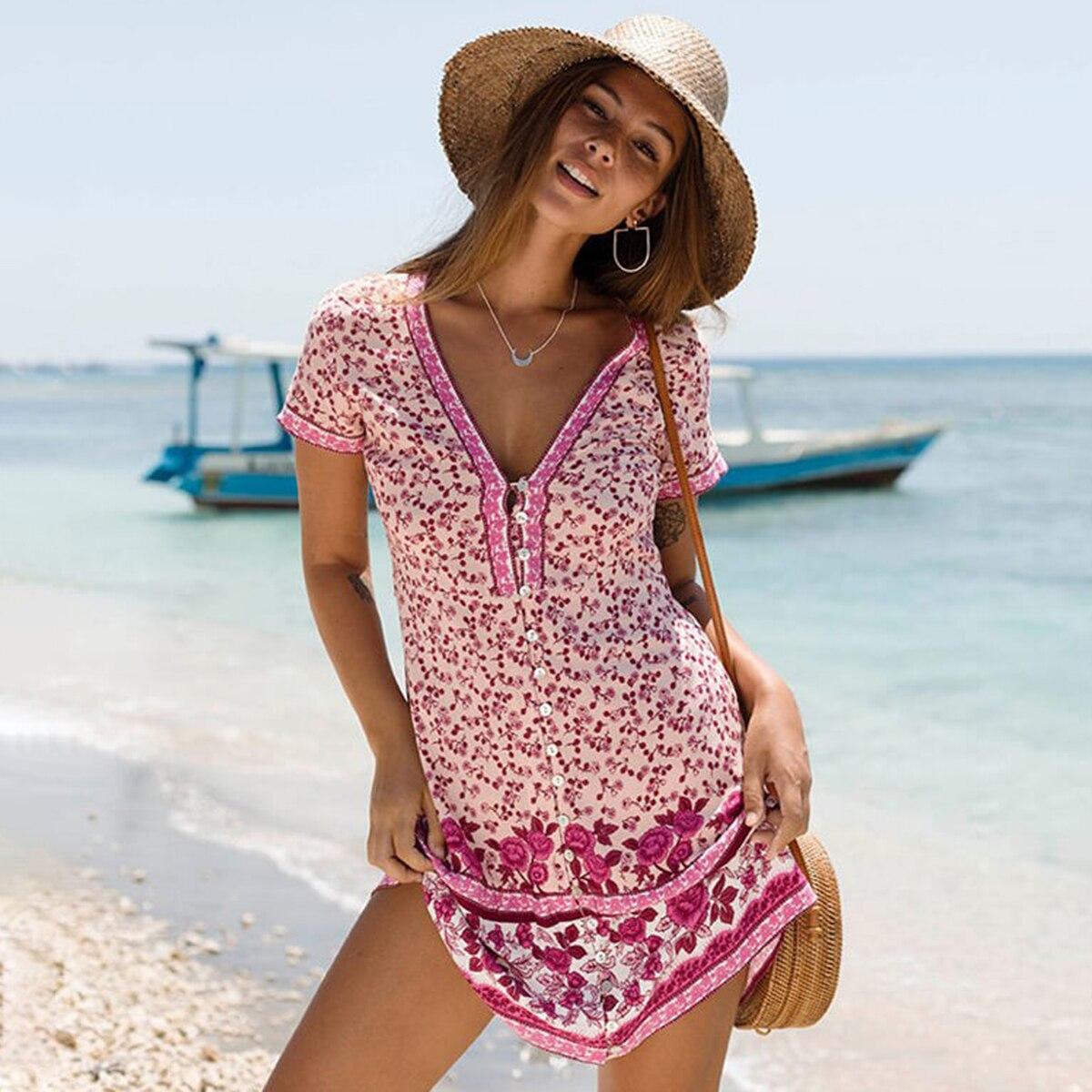 013583d2 Cheap Jastie Boho Chic botón cuello en V Mini vestido de manga corta  Vestidos de verano