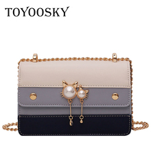 TOYOOSKY Messenger Bags for Women 2019 Fashion New Quality PU Leather Hit Color Portable Shoulder Bag Travel Tote