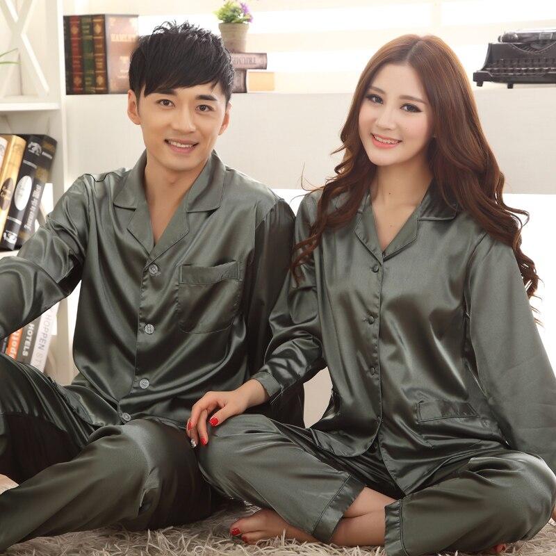 Pajamas Women lovers Mens Pyjamas Satin Silk Sleepwear Couples Matching Pajama Sets Plus Size 3XL