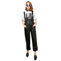 M 3XL Women Multi pockets Genuine Leather pants Sheep skin jumpsuits Female high wasit black color Rompers wq1511 dropship